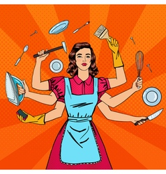 Successful housewife multitasking woman vector