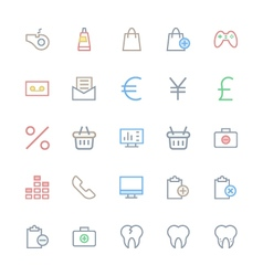 User interface colored line icons 52 vector