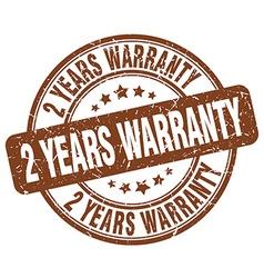 2 years warranty brown grunge round vintage rubber vector