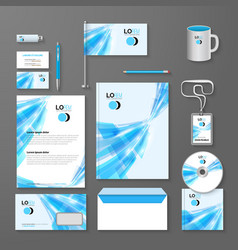 Abstract blue lines corporate identity template vector image