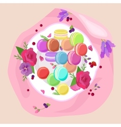 Sweet and colourful french macaroons macaron vector