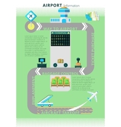 Airport information infographic board vector