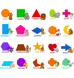 basic geometric shapes with animals vector image