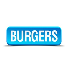 Burgers blue 3d realistic square isolated button vector image