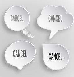 Cancel White flat buttons on gray background vector image vector image