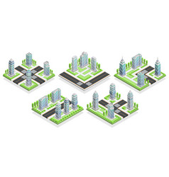 City houses isometric composition vector