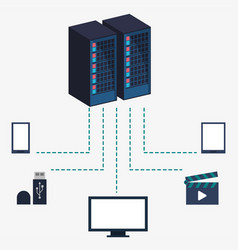data center server equipment storage information vector image