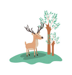 Deer cartoon with long horns in forest next to the vector