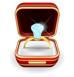 Engagement rings in gift box vector
