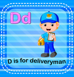 flashcard letter d is for deliveryman vector image vector image
