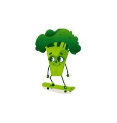 funny broccoli character with human face skating vector image