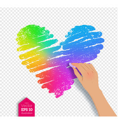 Hand drawing rainbow colored heart vector