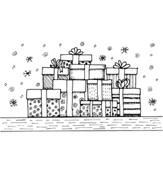 Hand - drawn pile of Christmas gifts on white vector image
