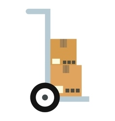 Hand truck with cardboard boxes icon flat style vector