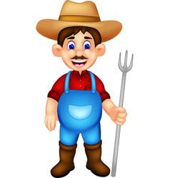 Handsome farmer cartoon standing bring fork vector