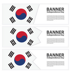Korea south flag banners collection independence vector