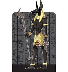 Mighty great dark anubis on dark egypt background vector