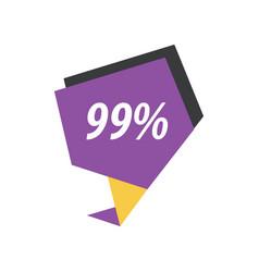 ninety nine percent label purple yellow black vector image vector image