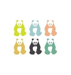 Panda bear silhouettes vector image