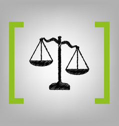 scales of justice sign black scribble vector image vector image