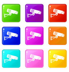 security camera set 9 vector image