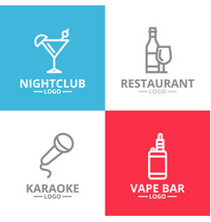 set of night club karaoke disco cocktail logo vector image