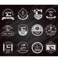 Tailor shop chalkboard labels icons set vector