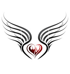 Tattoo design with heart shape and wings vector