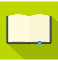 Open book with bookmark icon flat style vector