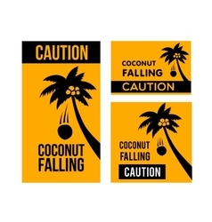 Falling coconuts caution vector