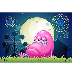 A problematic pink monster near the carnival vector