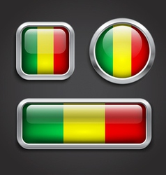 Mali flag glass buttons vector