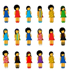 Set of girl icons with colorful dresses vector