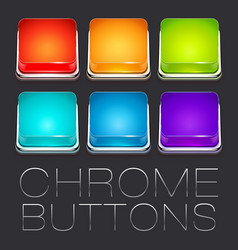 Set of colorful chrome buttons vector