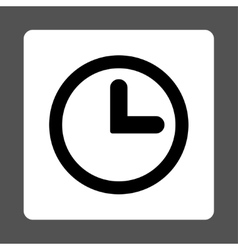 Clock flat black and white colors rounded button vector