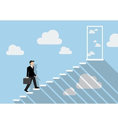 Businessman stepping up a staircase to the real vector image