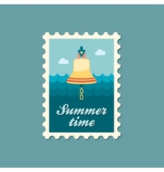 Bell marine flat stamp vector