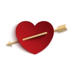 Paper heart with arrow vector