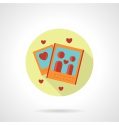 Romantic photo icon flat round style vector