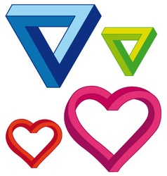 Infinite heart and triangle set vector