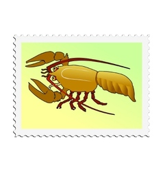 Stamp with image of crayfish vector