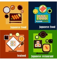 Japanese national seafood cuisine dishes vector