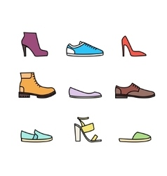Color linear shoes icon set vector