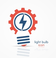 Gear light bulb idea icon with electricity sign vector