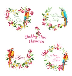 Tropical flowers and parrot birds banners and tags vector