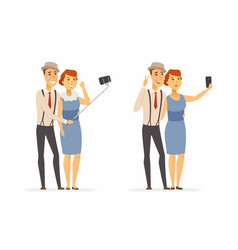 A couple making selfie - cartoon people character vector