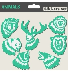 Animals stickers set vector