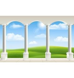 Arch columns meadow vector