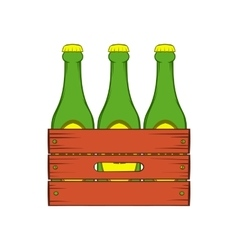 Beer wooden box icon cartoon style vector