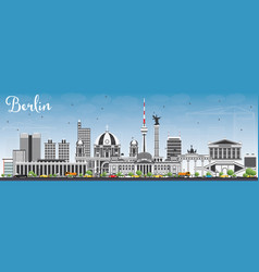 Berlin skyline with gray buildings and blue sky vector